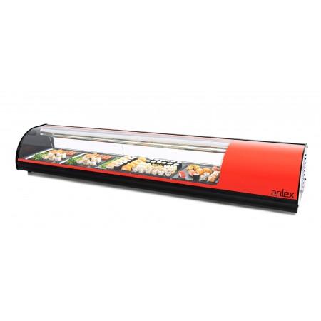Vitrina refrigerada de tapas PLACA LISA capacidad 8 bandejas GN1/3 color rojo 8VTL-RO SUSHI