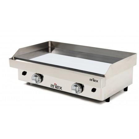 Plancha a gas ARILEX en acero 15 mm con  baño cromo duro con medidas 810x457x240h mm 80PGC