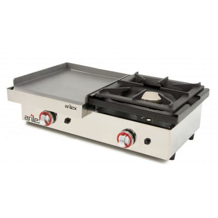 Gas Griddle of 40cm and 6mm thick + 6 kW stove with measures  810x457x240h mm 80PGLF