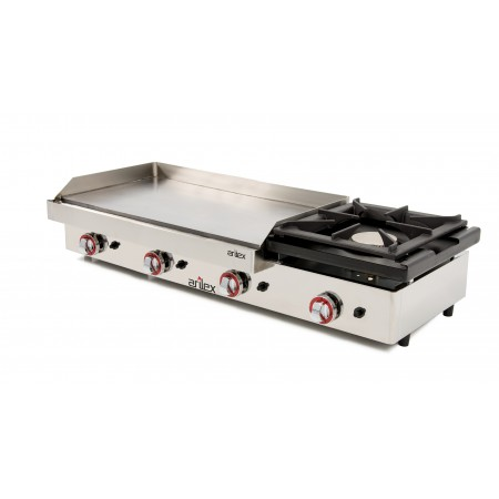 Plancha a gas ARILEX 80 cm en acero rectificado 15 mm + fogón 6 Kw con medidas 1210x457x240h mm 120PGRF