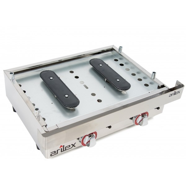 Hard Chromed Gas Griddle of 60cm and 6mm thick + 6 kW stove with measures 1010x457x240h mm 100PGCF