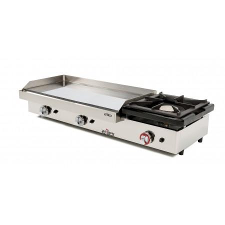Plancha a gas ARIEX 80 cm en acero 15 mm con baño cromo duro + fogón 6 Kw con medidas 1210x457x240h mm 120PGCF