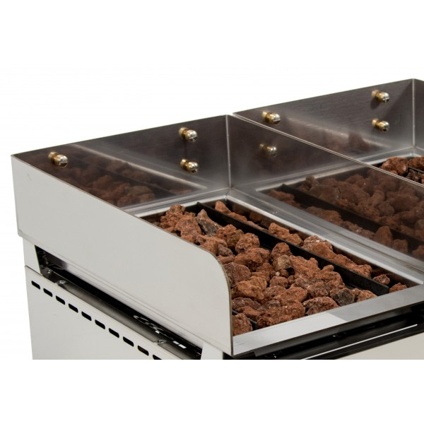 DUO Basque Grill  with Volcanic Stone with measures 670x590x345h mm 3535VAS