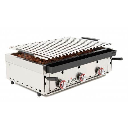 Barbacoa a gas piedra volcánica ARILEX con parrilla inoxidable regulable en 3 alturas con medidas 900X600X260h mm BARINOX90