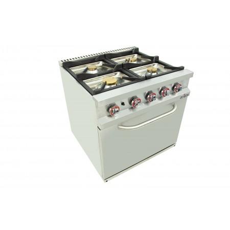 Cocina a gas 4 fuegos con piloto de 2x7,5 +2x5,5 kW con horno GN2/1 termostático de 7,5Kw 80CG70H