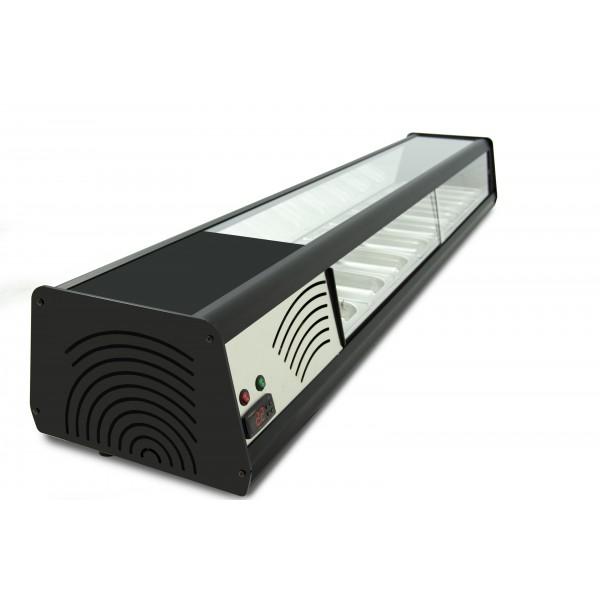 Vitrina refrigerada de tapas PLANA 4 bandejas GN1/3 color negro 4VTG-NE