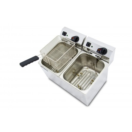 Freidora eléctrica EVOLUTION sin grifo capacidad 10+10 litros con potencia 3,5+3,5 kw monofásica con contactor EVO1010
