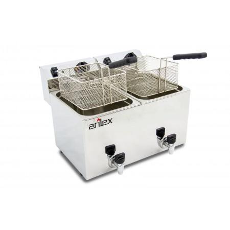 Freidora eléctrica EVOLUTION con grifo capacidad 10+10 litros con potencia 3,5+3,5 kw monofásica con contactor EVO1010G