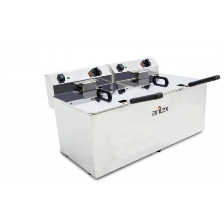 Freidora eléctrica EVOLUTION sin grifo capacidad 12+12 litros con potencia 4,5+4,5  kw monofásica con contactor EVO1212