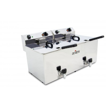 12+12L  and 4,5+4,5kW Monofasic EVOLUTION Electric Fryer with Contactor and Tap EVO1212G