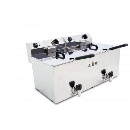 Freidora eléctrica EVOLUTION con grifo capacidad 12+12 litros con potencia 4,5+4,5 kw monofásica con contactor EVO1212G