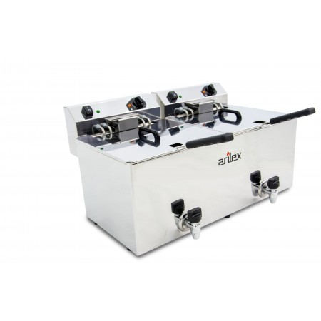 Freidora eléctrica EVOLUTION con grifo capacidad 12+12 litros con potencia 7,5+7,5 kw trifásica con contactor EVO1212GTR