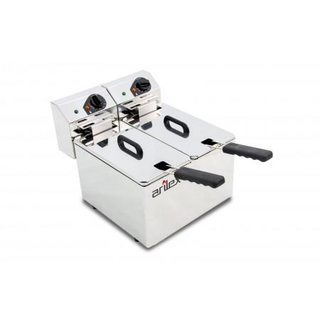 Freidora eléctrica EVOLUTION sin grifo capacidad 5 + 5 litros con potencia 2,2 + 2,2 kw monofásica EVO55