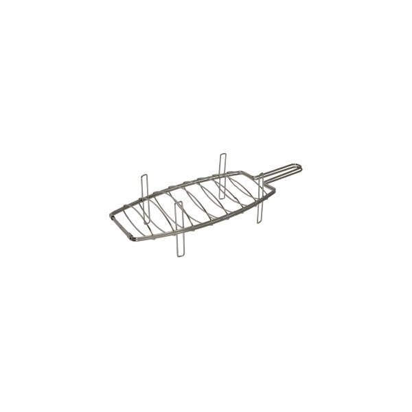 Stainless grill for fish barbecue with feet 54x20 cm. 9496