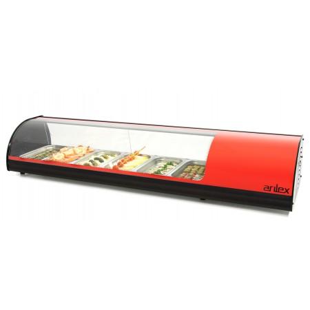 Vitrina refrigerada de tapas 6 bandejas GN1/3 color rojo 6VTG-RO