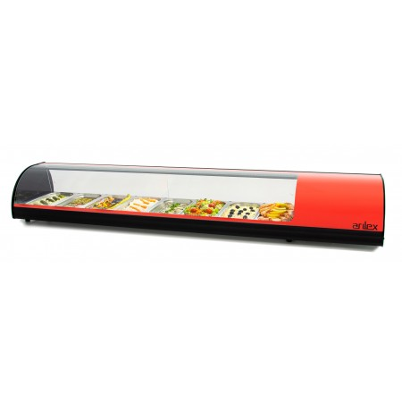 Vitrina refrigerada de tapas 8 bandejas GN1/3 color rojo 8VTG-RO