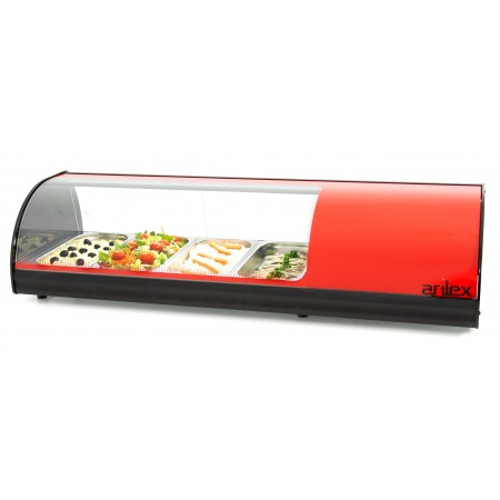 Red Refrigerated Display Cabinet with Plain Bottom and capacity for 4-GN1/3 4VTL-RO