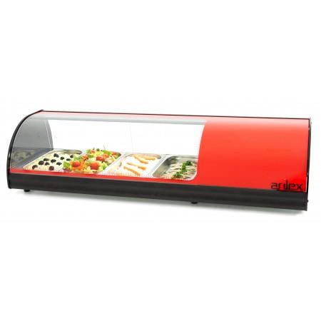 Vitrina refrigerada de tapas PLACA LISA capacidad 4-GN1/3 color rojo 4VTL-RO