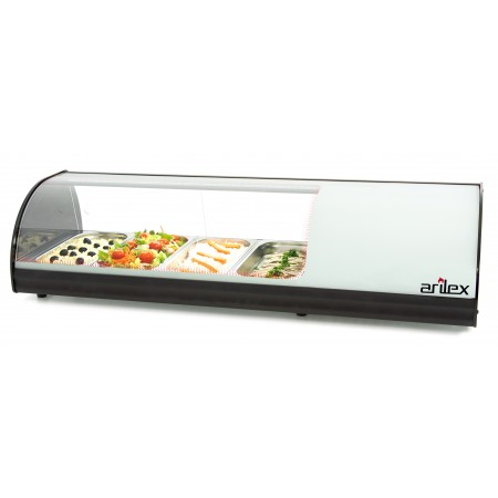 White Refrigerated Display Cabinet with Plain Bottom and capacity for 4-GN1/3 4VTL-BL
