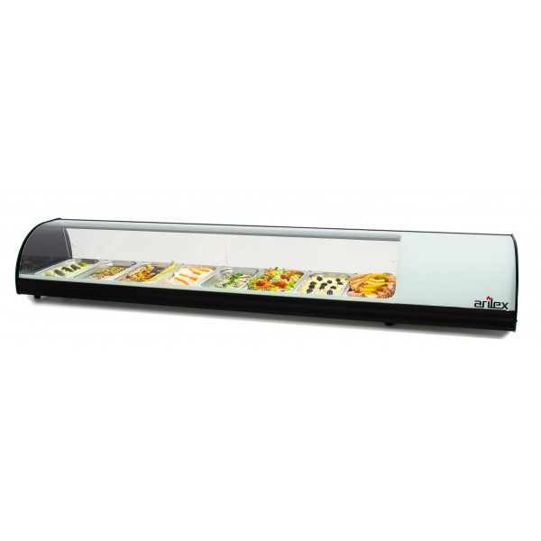 White Refrigerated Display Cabinet with Plain Bottom and capacity for 8-GN1/3 8VTL-BL
