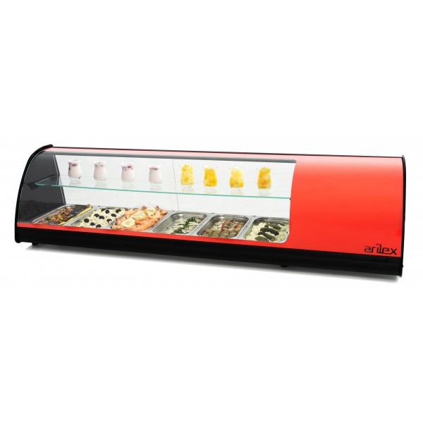 Vitrina refrigerada de tapas PLACA LISA doble piso capacidad 6 bandejas GN1/3 color rojo 6VTL-RO DOBLE