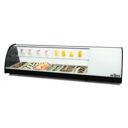 Vitrina refrigerada de tapas PLACA LISA doble piso capacidad 6 bandejas GN1/3 color blanco 6VTL-BL DOBLE