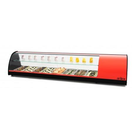 Vitrina refrigerada de tapas PLACA LISA doble piso capacidad 8 bandejas GN1/3 color rojo 8VTL-RO DOBLE