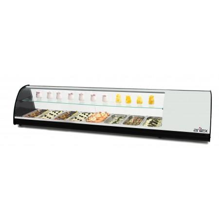 Vitrina refrigerada de tapas PLACA LISA doble piso capacidad 8 bandejas GN1/3 color blanco 8VTL-BL DOBLE