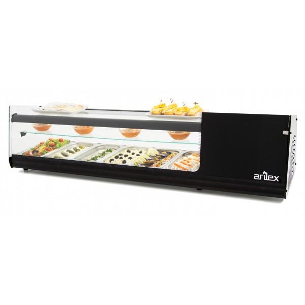Vitrina refrigerada de tapas PLACA LISA  3 pisos capacidad 6 bandejas GN1/3 color negro 6VTL-NE TRIPLE