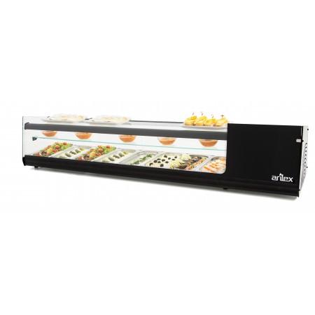 Vitrina refrigerada de tapas PLACA LISA  3 pisos capacidad 8 bandejas GN1/3 color negro 8VTL-NE TRIPLE