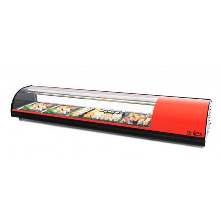 Vitrina refrigerada de tapas  8 bandejas GN1/3 color rojo 8VTG-RO SUSHI